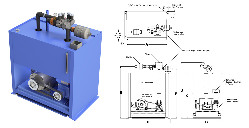 Belt Drive Power Unit model and drawing